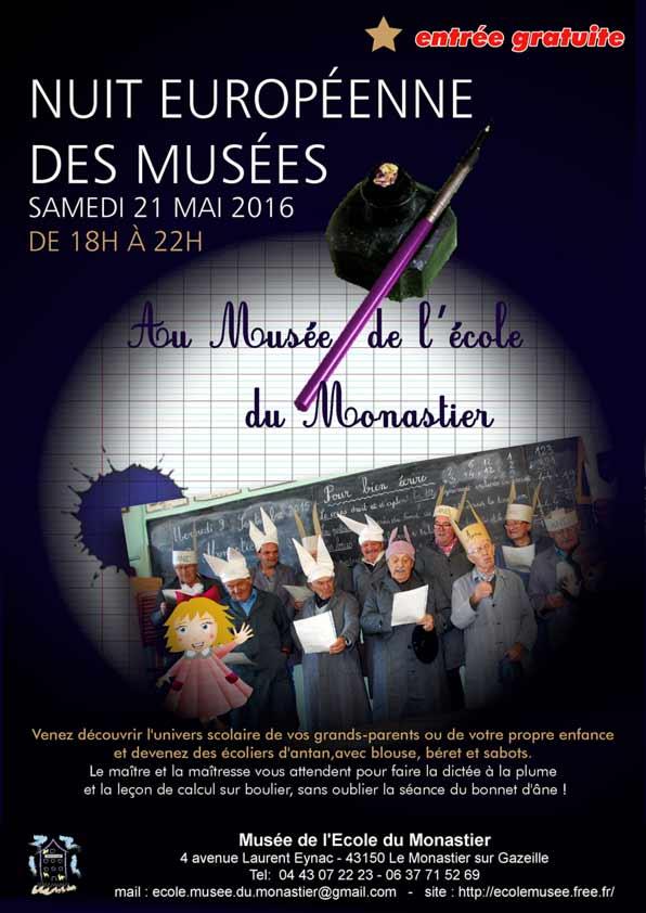 la nuit européenne des musée au musée de l'école du Monastier-sur-gazeille